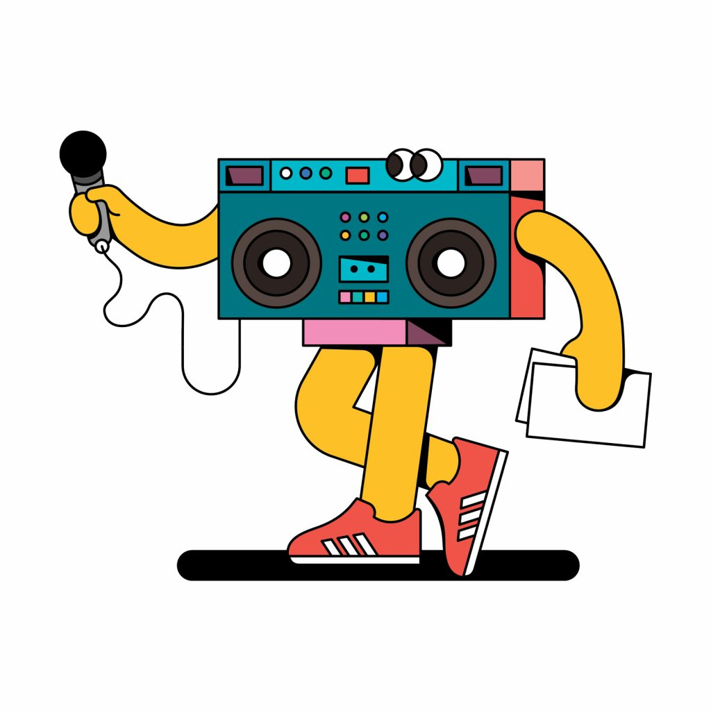 ask-an-officer-illustration-boombox-holding-microphone